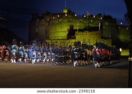 massed pipes and drums Edinburgh Tattoo 2006 - stock photo