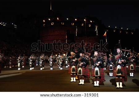 Massed pipes and drums, Edinburgh Tattoo - stock photo