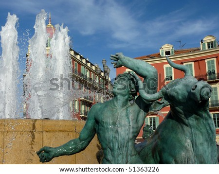 Massena fountain in Nice, France - stock photo