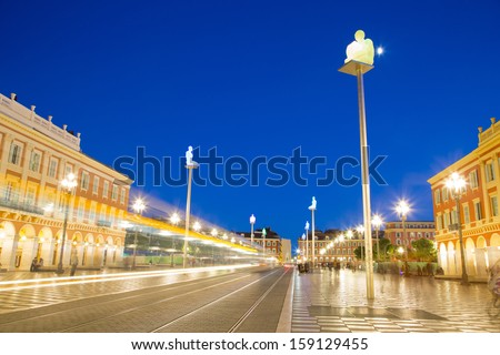 Massena Place Square at dusk, Nice, France - stock photo