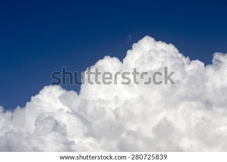 Masses of  majestic white fluffy cumulus  congestus or towering cumulus ice cream  clouds in a blue Australian sky in mid spring are a portender of thunderstorm activity  likely to eventuate.