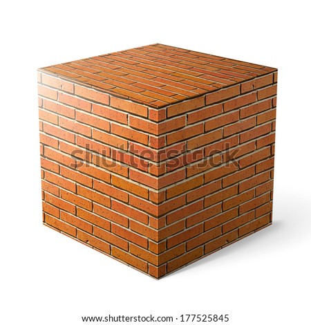 Massive brick cube over white background