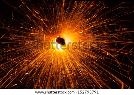 massive christmas sparkler, top view - stock photo