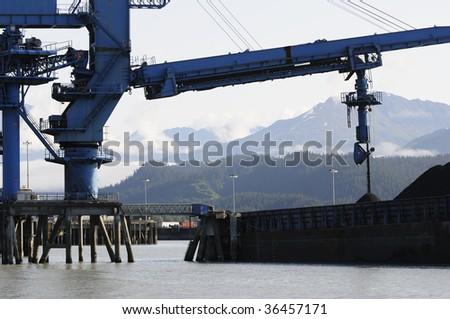 Massive coal conveyor at Seward, Alaska - stock photo