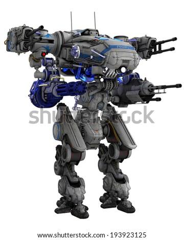 massive destroction robot - stock photo