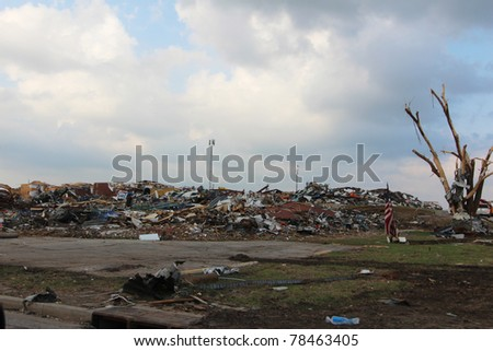 Massive destruction caused by an EF5 Monster Tornado packing 200+ mph winds. - stock photo