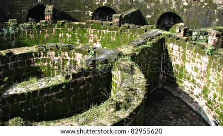 Massive Dungeon in Crumbling Ruin - stock photo