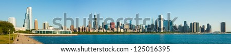 Massive extended panorama of the Chicago skyline early morning - stock photo