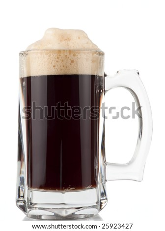Massive glass mug of beer, isolated on white background