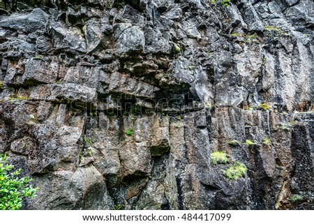 Massive grey and brown rocks background in Iceland. Useful for your posters, design projects, etc.