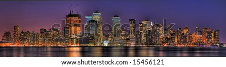 Massive HDR panoramic image showing the Jersey-side of Lower Manhattan at dusk. - stock photo