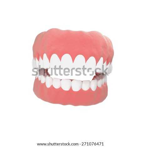 Massive human jaw in 3D illustrations on a white background - stock photo