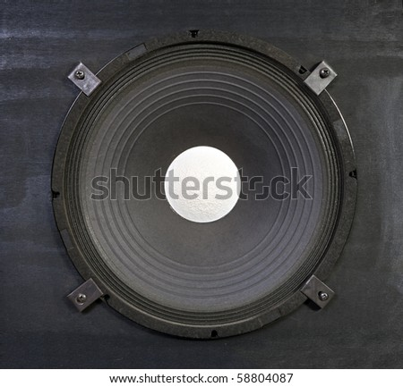 Massive 15 inch bass amplifier speaker.  Thunder in a box. - stock photo