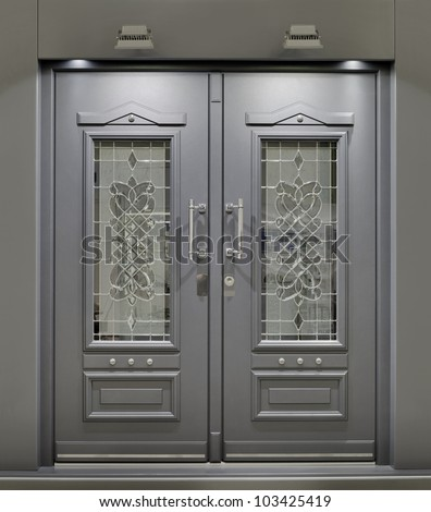 Massive Metallic Fireproof Front Door - stock photo