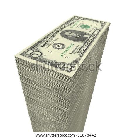 massive money pile of 5 Dollar notes on white background - closeup - stock photo