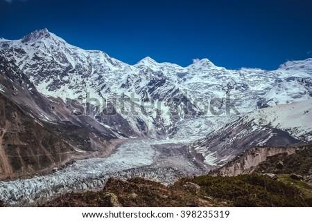 Massive Nanga Parbat mountain in the Karakorum range, Pakistan - stock photo