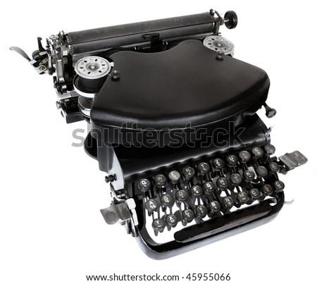 Massive Old black typewriter isolated om white background - stock photo