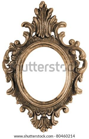 Massive old stylistic mirror frame - stock photo