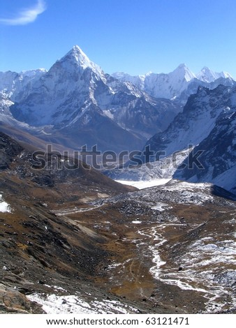 Massive peaks and valleys in the Nepalese Himalaya - stock photo