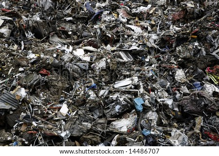 Massive pile of scrap metal and garbage - large XXL file - stock photo