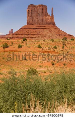 Massive sandstone pillars in Monument Valley - stock photo