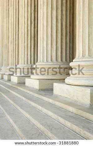 massive stone Corinthian columns at the US Supreme Court - stock photo