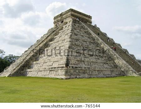Massive stone pyramid at Chichen Itza, Mexico - stock photo