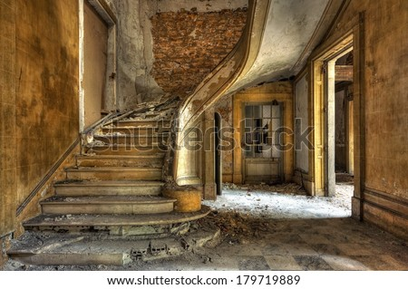 Massive stone stairway in an abandoned factory - stock photo