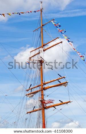 Mast of a tall ship - stock photo