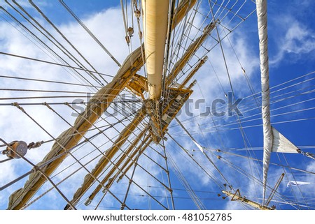 Mast of tall ship in a sunny day