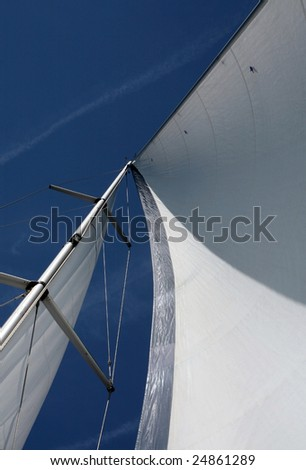 mast, sail and rigging of a private yacht, Vertical perspective. - stock photo