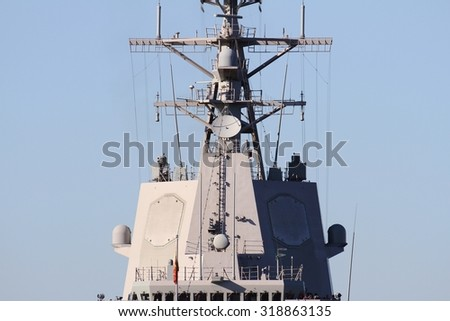 Mast with Aegis Radar System in a destroyer ship - stock photo