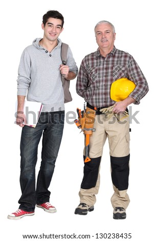 Master and student worker - stock photo