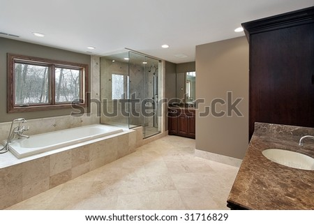 Master bath in in new construction home - stock photo