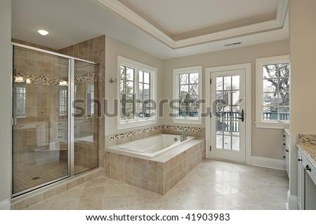 Master bath in luxury home - stock photo