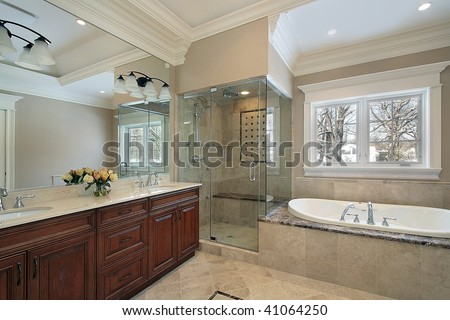 Master bath in new construction home - stock photo