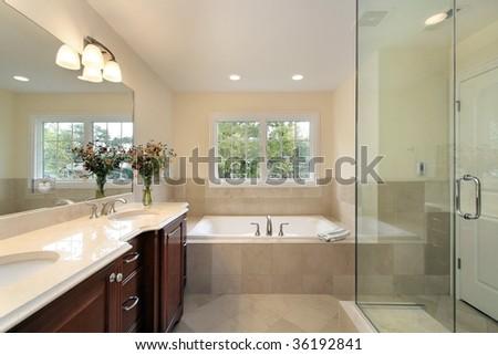 Master bath with glass shower - stock photo
