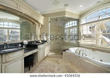 Master bath with large tub - stock photo