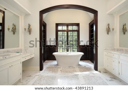 Master bath with separate tub area - stock photo