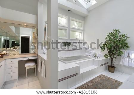 Master bath with skylight - stock photo