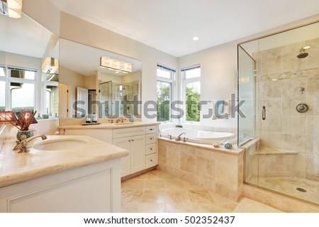 Master Bathroom Interior Beige Tile Floor Stock Photo (Royalty Free)  502352437   Shutterstock