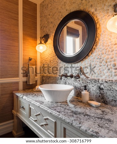 Master Bathroom Sink and Vanity in Luxury Home - stock photo