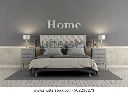 Master bedroom in classic style with double bed, nightstand and gray walls - 3d rendering