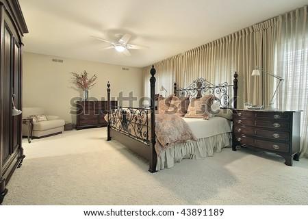 Master bedroom in condo - stock photo