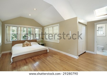 Master bedroom in luxury home - stock photo