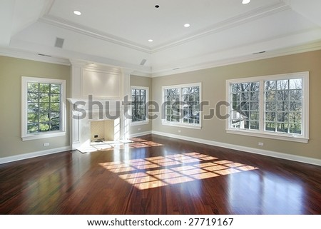Master bedroom in new construction home - stock photo
