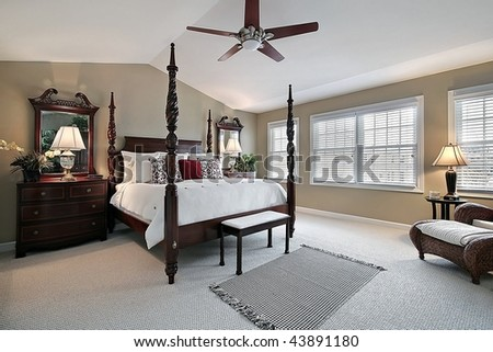 Master bedroom in suburban home - stock photo
