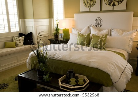Master Bedroom With Bed Closeup