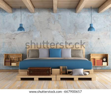 Master Bedroom Pallet Double Bed Old Stock Illustration 667900657    Shutterstock