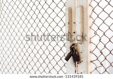 Master key  lock steel door, noway not exit - stock photo